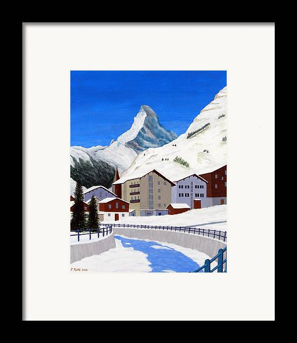 Art Framed Print featuring the painting Matterhorn-zermatt by Frederic Kohli