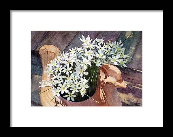 Flowers In Ceramic Framed Print featuring the painting Mexican Stars by Bob Duncan