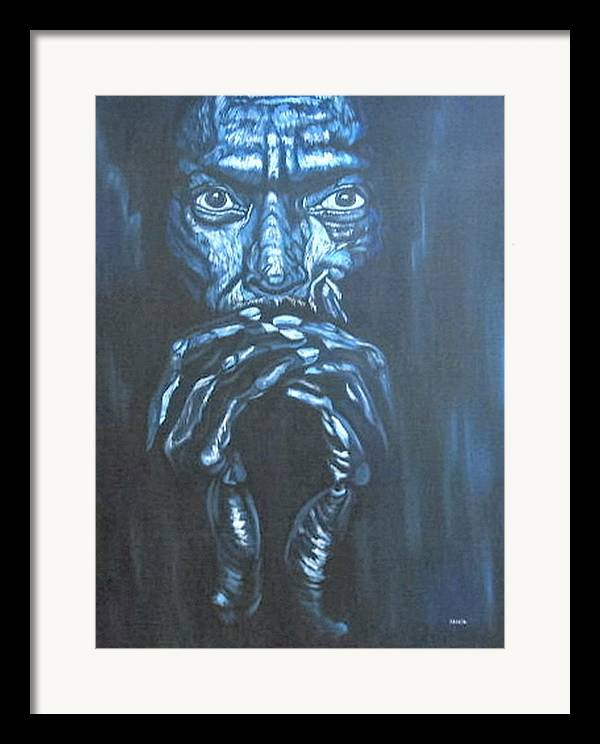 Portrait Framed Print featuring the painting Miles by Shahid Muqaddim