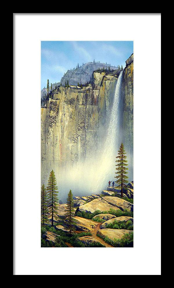 Landscape Framed Print featuring the painting Misty Falls by Frank Wilson