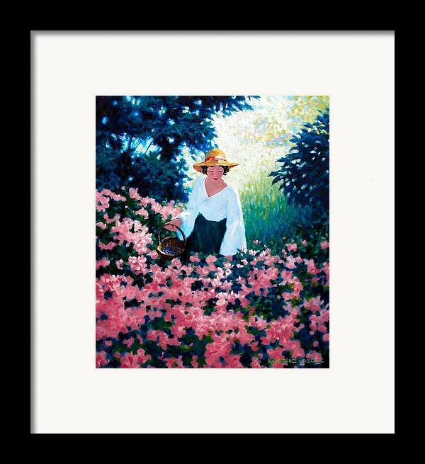Woman Framed Print featuring the painting Mulberry Time by Kevin Lawrence Leveque