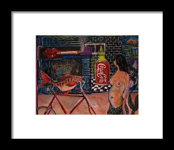 Abstract Framed Print featuring the painting My Dinner On A Bike by Dennis Tawes