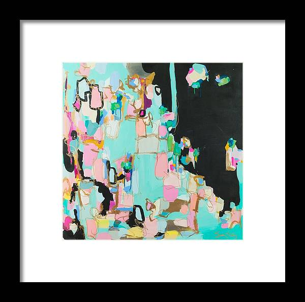 Abstract Art Pink Black Metallic Gold Bronze Magenta Seafood Dramatic Drippy Yellow Turquoise Blue Cream Ecru Valley Of The Dolls Susan Skelley Framed Print featuring the digital art New Upload by Susan Skelley