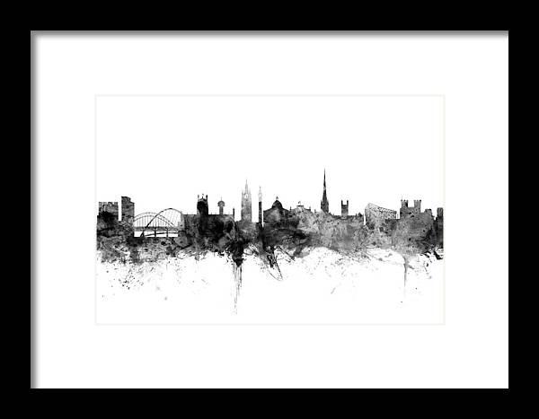 City Framed Print featuring the digital art Newcastle England Skyline by Michael Tompsett