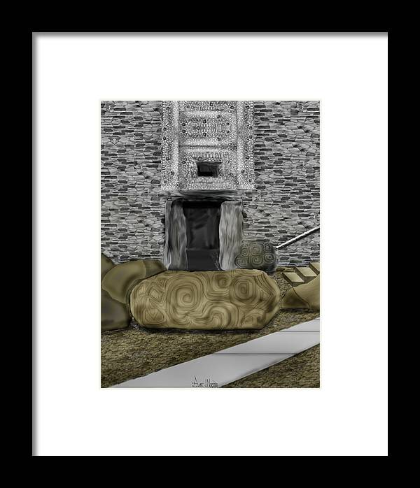 Newgrange Framed Print featuring the painting Newgrange Ireland by Anne Norskog