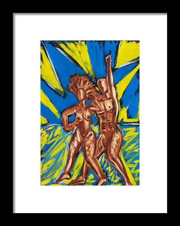 Figure Framed Print featuring the painting 2 Nude Dancers by Albert Almondia