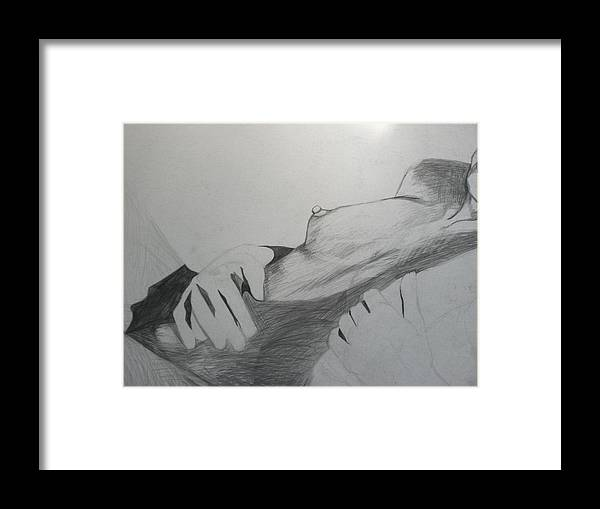 Nude Live Model Pencil Unfinished Framed Print featuring the drawing Nude Model In Studio by Carrie Maurer