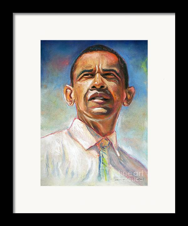 Cool Art Framed Print featuring the drawing Obama 08 by Dennis Rennock