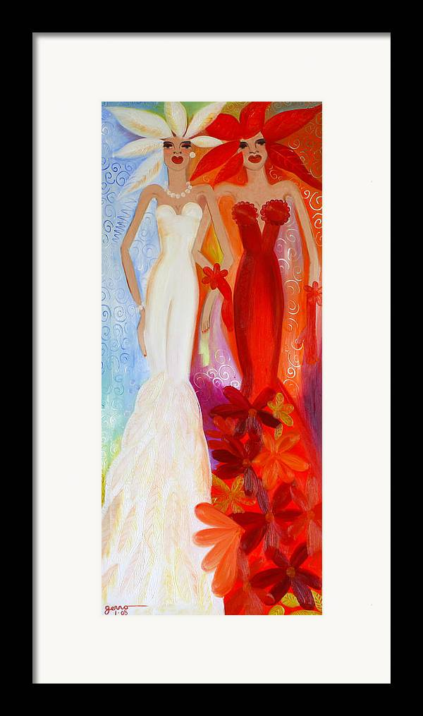 Haute Couture Artwork Framed Print featuring the painting Pearl And June by Helen Gerro