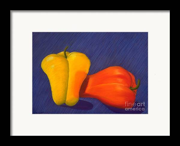 Vegetable Framed Print featuring the painting 2 Peppers by Mary Erbert