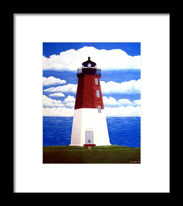 Lighthouse Framed Print featuring the painting Point Judith Lighthouse by Frederic Kohli