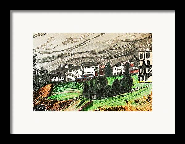 Realism Framed Print featuring the drawing Pontresina Switzerland by Monica Engeler
