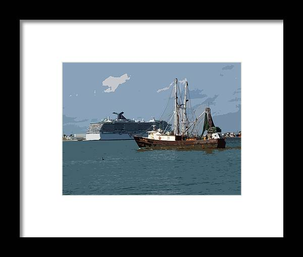 Florida Framed Print featuring the painting Port Canaveral In Florida Usa by Allan Hughes