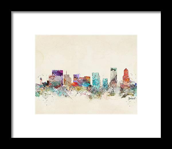 Portland Oregon Framed Print featuring the painting Portland Oregon Skyline by Bri Buckley