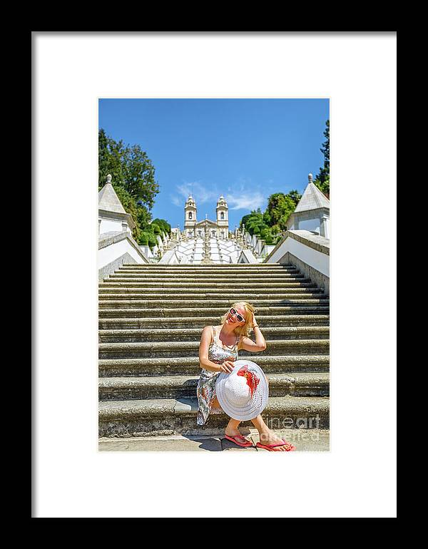 Braga Framed Print featuring the photograph Portugal Woman Tourist by Benny Marty