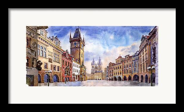 Watercolour Framed Print featuring the painting Prague Old Town Square by Yuriy Shevchuk