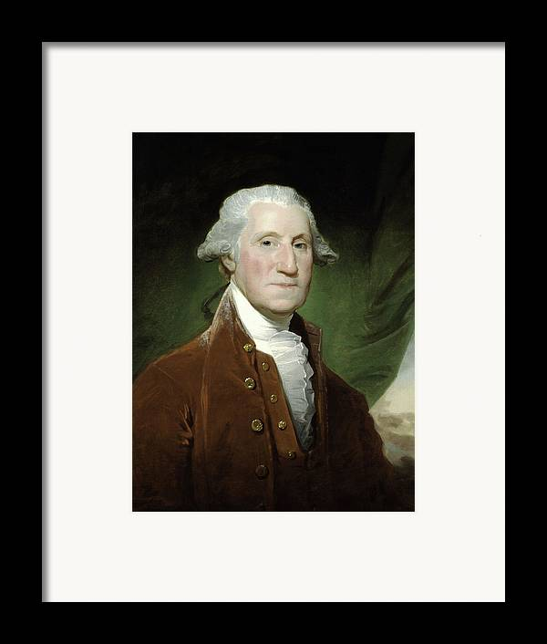George Washington Framed Print featuring the drawing President George Washington by War Is Hell Store