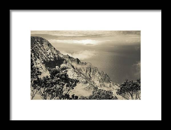Pu'u O Kila Lookout Framed Print featuring the photograph Puu O Kila Lookout, Kauai, Hi by T Brian Jones