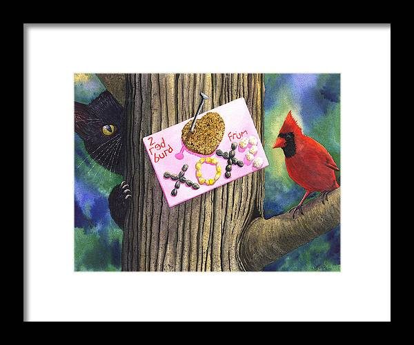 Cardinal Framed Print featuring the painting 2 Red Burd by Catherine G McElroy