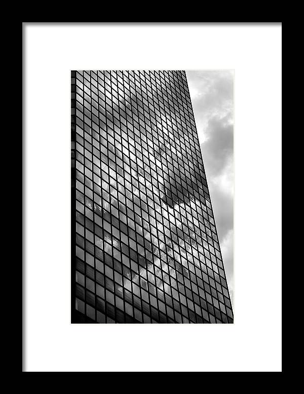 Fine Art Framed Print featuring the photograph Reflective Glass And Metal Building by Robert Ullmann