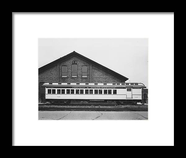 Passenger Trains Framed Print featuring the photograph Refurbished Car 7411 - 1960 by Chicago and North Western Historical Society