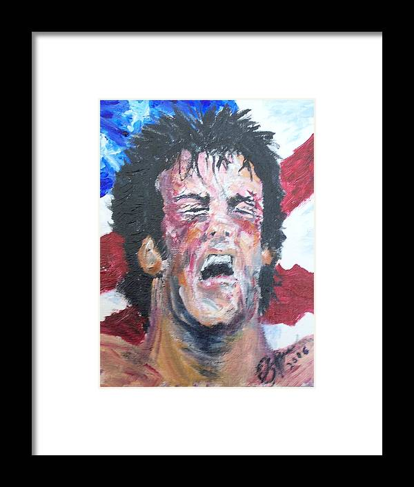 Stallone Framed Print featuring the painting Rocky by Francis Bourque