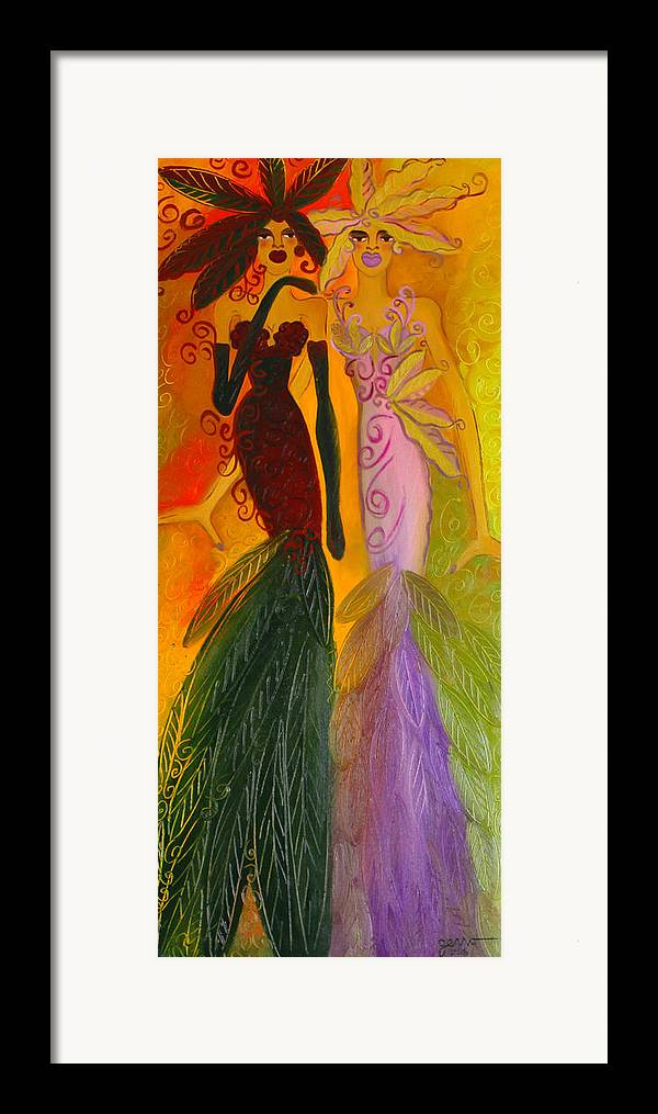 Haute Couture Artwork Framed Print featuring the painting Ruby And April by Helen Gerro