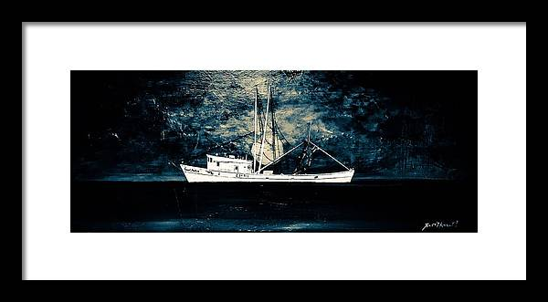 Shrimp Boat Framed Print featuring the painting Salty Shrimp boat by Barry Knauff