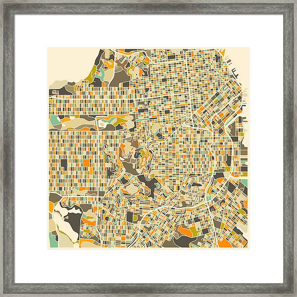 San Francisco Map Framed Print by Jazzberry Blue