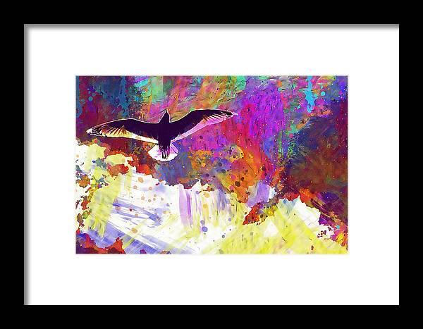 Seagull Framed Print featuring the digital art Seagull Blue Sky Freedom Air Fly by PixBreak Art