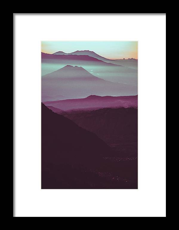Adventure Framed Print featuring the photograph Serene Scene Of A Early Morning Misty Clouds Rolling Over The Rugged Mountainous Terrain by Srdjan Kirtic