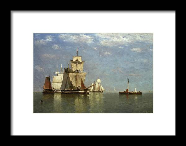 Seaviews Framed Print featuring the painting Ships Lying Off Flushing by Paul Jean Clays