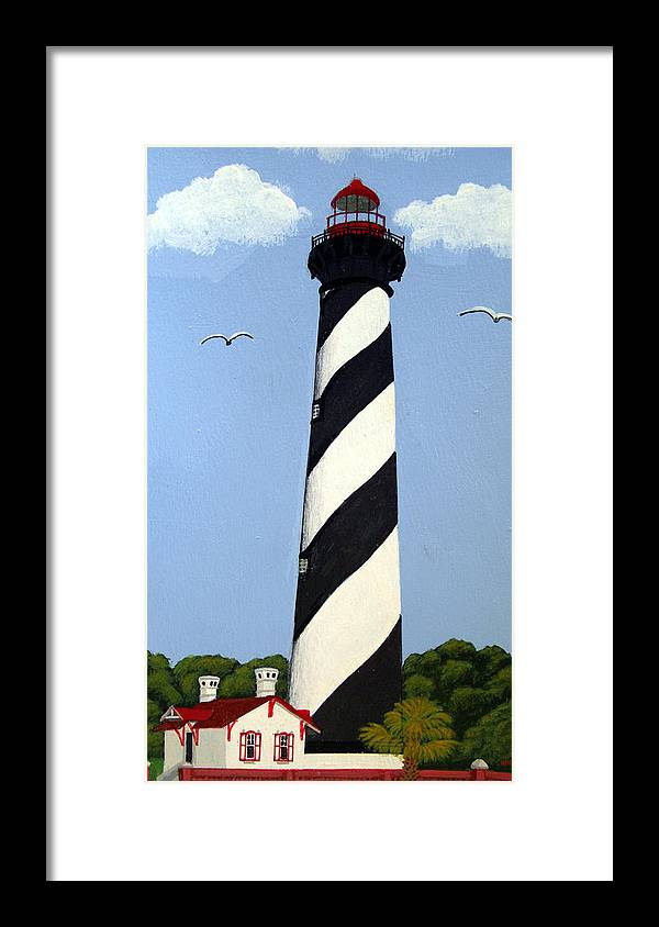 Lighthouse Paintings Framed Print featuring the painting St Augustine Lighthouse by Frederic Kohli