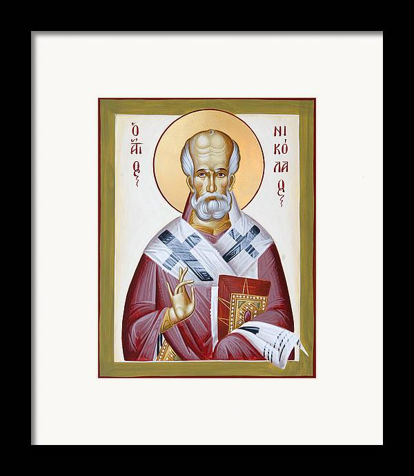 St Nicholas Of Myra Framed Print featuring the painting St Nicholas Of Myra by Julia Bridget Hayes