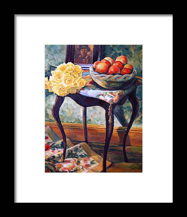 Still Life Framed Print featuring the painting Still Life With Roses by Iliyan Bozhanov