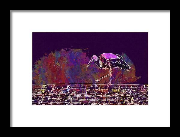 Stork Framed Print featuring the digital art Stork Bird Fly Plumage Nature by PixBreak Art