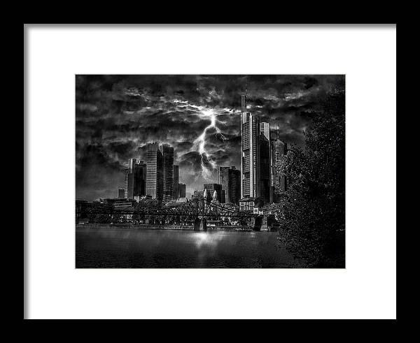 Frankfurt Framed Print featuring the photograph Storm Over Frankfurt by Reinhold Silbermann