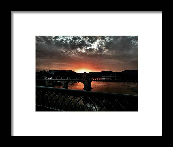 Tennessee River Sunset Sky Clouds Framed Print featuring the photograph Tennessee River Sunset by Roland Millsaps