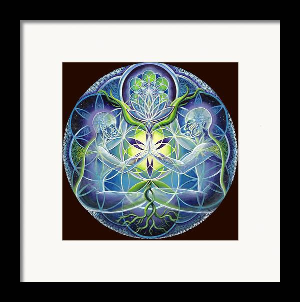 Flower Framed Print featuring the painting The Flowering Of Divine Unification by Morgan Mandala Manley