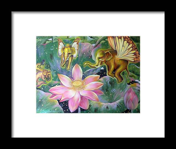 Thai Framed Print featuring the painting The Light Of Buddhism by Chonkhet Phanwichien