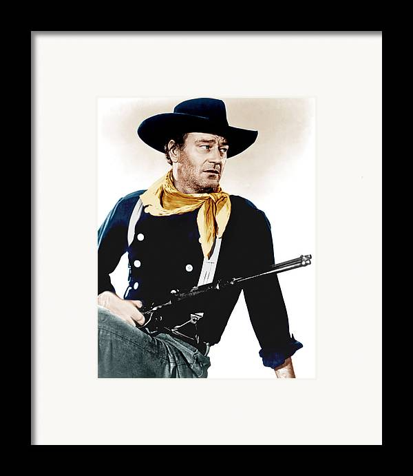 1950s Portraits Framed Print featuring the photograph The Searchers, John Wayne, 1956 by Everett