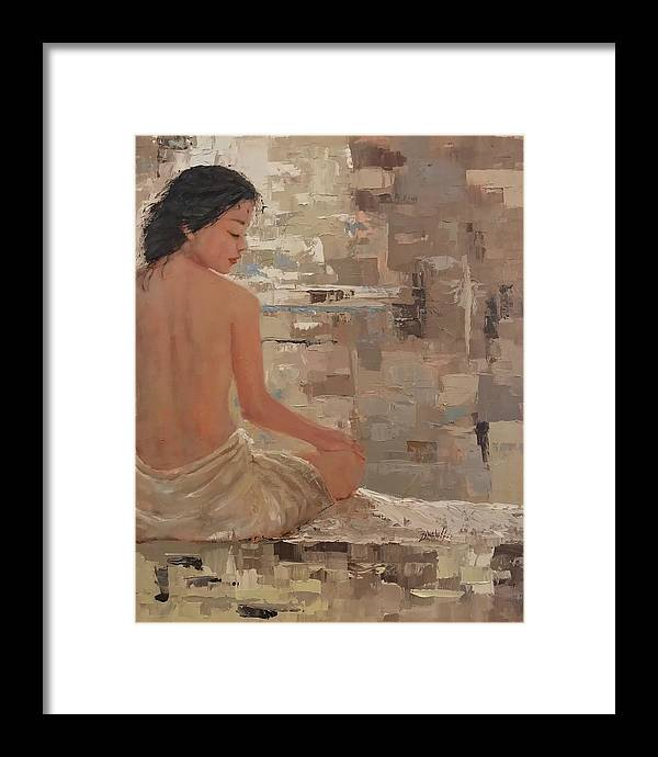 Woman In Towel Framed Print featuring the painting The Spa Three by Laura Lee Zanghetti