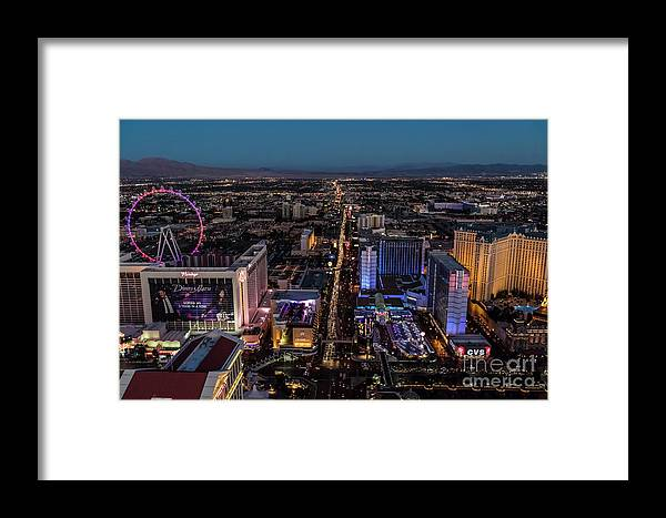 Las Vegas Framed Print featuring the photograph the Strip at night, Las Vegas by Sv