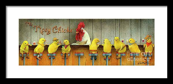 Will Bullas Framed Print featuring the painting Tipsy Chicks by Will Bullas