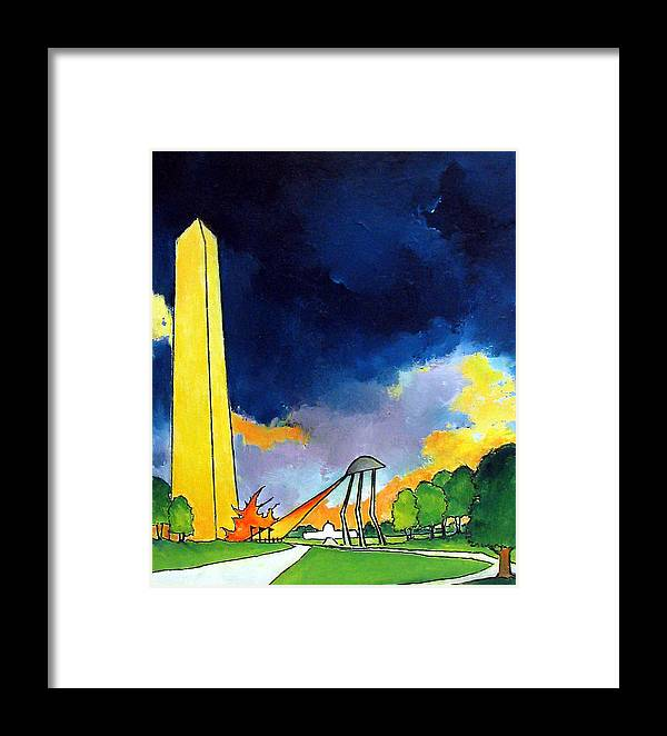 Ufo Artwork Framed Print featuring the painting Tripod In D.c. by James Smith