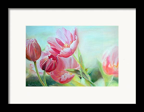 Floral Painting Framed Print featuring the painting Tulipes by Muriel Dolemieux