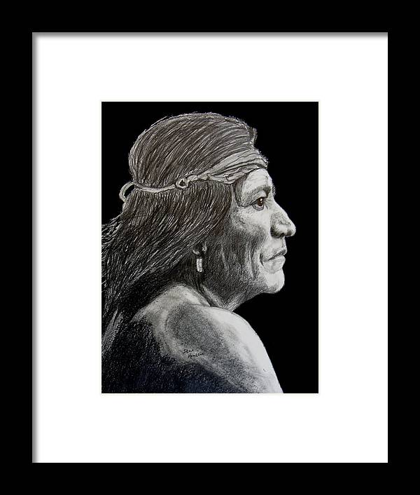Pencil Framed Print featuring the drawing Unknown Indian VI by Stan Hamilton