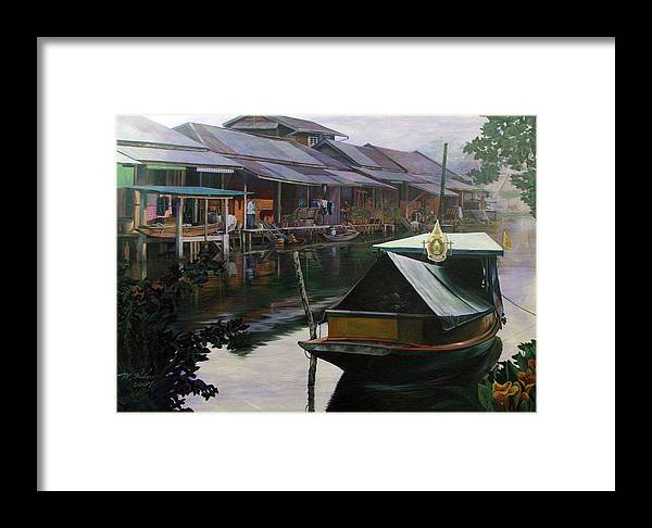 Acrylic Framed Print featuring the painting Untitled by Chonkhet Phanwichien