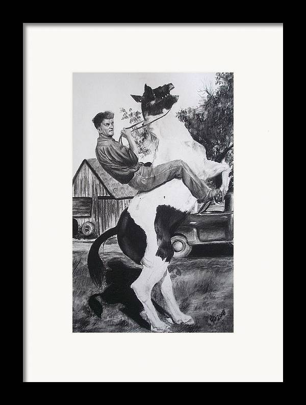 Horse Framed Print featuring the drawing Untitled by Darcie Duranceau