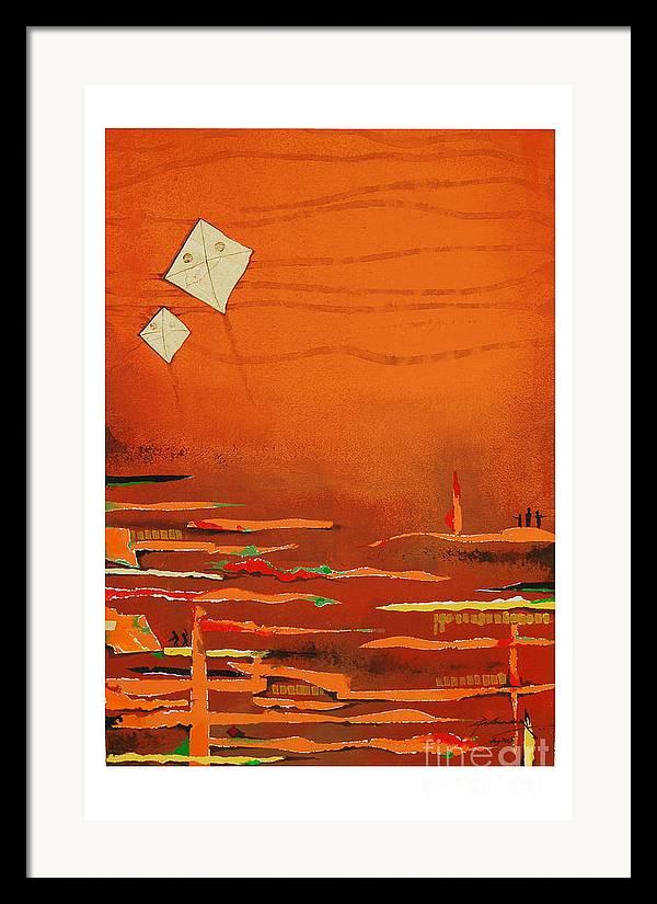 Abstract Framed Print featuring the mixed media Untitled by Padmakar Kappagantula